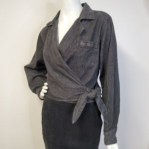 HARLEY DAVIDSON Cropped Denim Wrap Shirt SEXY